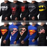 Superhero 3D Printed Long Sleeve Shirt Marvel Superman/bat-man Shirts Cosplay Jersey Tee Tops Quick-Dry Fit Compression Shirt