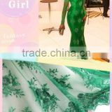 2014 beaded French Lace / Net Lace For Dress Making In Green                                                                         Quality Choice