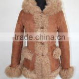 Dyed Color Mongolian Lamb Fur Long Coat Sheep Fur Jacket Whole And Retail