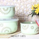 hot saling ceramic popcorn bowls with silicone lids