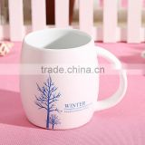 custom white porcelain mugs wholesale with wood cover in hot selling white promotion mug