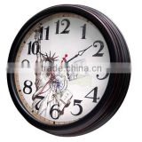 hand painted wood modern picture wall clock