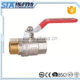 "ART.1016 Forged Body Male to Female M/F Thread 1/2"" Full Port Inline Brass Water Ball Valve Nickel Plated with Lever Handle"