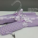 Children padded hanger ,cotton clothe hanger for baby, kids clip hanger for skirt, small size hanger