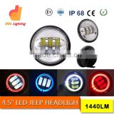 30w motorcycle led foglight 4.5 inch round halo led headlight with angel eyes