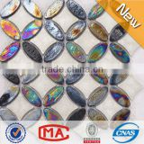 LJ JY-G-107 Hot Sale Decorative Ceramic Mosaic Mix Iridescent Glass Mosaic Tile Non Slip Bathroom Flooring