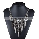 Gros Collier Femme Collares Rivet Tassel with Crystal Geometric Pendant Charm Fashion Women Colar Statement Boho Necklace Choker