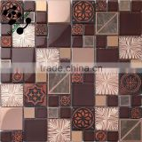 SMP21 Artistic resin glass mixed stainless steel mosaic TV background mosaic Decorative wall panels