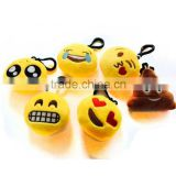 2 Inch Mini Emoji Plush Keychain toys Stuffed Bag Accessory Set of 6
