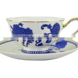 200ml Bone China European Style Blue Flower Pattern tea cup with plate Set for promotion gift