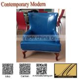 project customized living room bedroom Furniture retro blue leather leisure Chair luxury coffee shop sofa chair