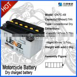 SCOOTER BATTERY Dry-charged battery for motorcycle with high quality12N7-4B/Moto parts//Electrical Equipment&supplies