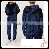 men's Navy Velvet Hoodies set 2016 best selling TOP quality athletic tailored mens velvet tracksuits