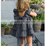 Children Cotton Frocks Design For Cutting Flower Girls Summer Party Dresses Black Puff Sleeve Elegant Kids Clothes