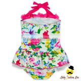 Kids Halter Floral Printed Little Girl Modeling Flower One Piece Swimwear Dress Clothes