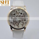 wrist watch lady leather watch quartz high quality watch rose gold butterfly up dial fashion