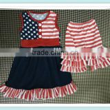 American 4th of July girls clothes new baby summer patriotic clothing set infant girls dress outfits