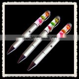 Liquid promotional pen with led light , customized projector ballpoint pen