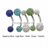 Fashion design navel piercing belly ring with shining disco balls