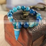 BRH0913 Fashion blue agate beaded& turquoise point charm bracelet