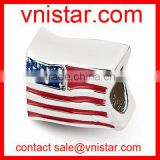 Vnistar silver plated european style big hole state flag bead charms for european snake chain bracelet TB076