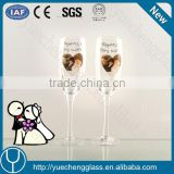 Chinese champagne glass with best wishes symbols in color box wholesale