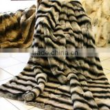 Genuine Rex Rabbit Fur Rug Blanket Chinchilla Color Fur Carpet with Lining