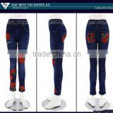 2016 custom floral print mid-rise jeans for women Dubai