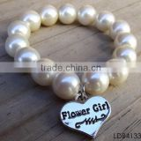 Fashion pearl bracelet with silver plated heart pendant friendship bracelet