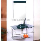 High Quality Tempered Glass Cloakroom Wash Sink, Dark Green Color Glass with Stainless Steel Holder