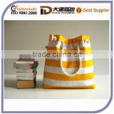 Sailor Promotional Tote Bag --for market or beach or gym-- -yellow and white bold striped, X-Large and cotton rope straps