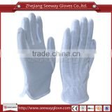 Seeway Cotton Knitted Inspectors Parade Traffic Police Work Gloves with Anti Skid White PVC Grip Dots on Palm