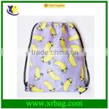 100% Polyester Fruit Pattern Drawstring Backpack for Book Clothes Travel Outdoor Drawstring Bag