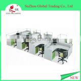 four people seat half glass aluminium partition office screen workstation melamine cubicle partition office workstation