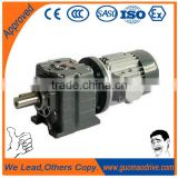 Single phase ac motor with helical gear reducer