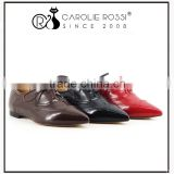women lace up new design monk flat leather brogue shoes