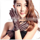 Women winter warm dark brown driving leather gloves in alibaba