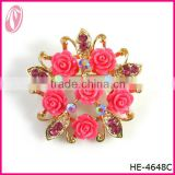 Rhinestone Red Rose Brooch For Wedding White Dress