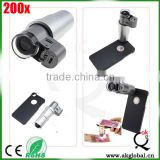 200X Zoom 3 LED Light Microscope Micro Lens for Cell Phone Mobile Phone Clip Protective Case for iPhone 6 6 plus