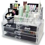 Fashion acrylic make up cosmetic display stand clear acrylic cosmetic makeup organizer drawer