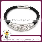 Top Selling 2015 316L Stainless Steel Black Braided Geniune Leather Shiny Crystal Bracelet With Magnetic Clasp Made In China