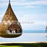 Patio Rattan Outdoor Furniture Nest Swing Bed - Wicker Furniture Nestrest Hanging Round Bed Furniture