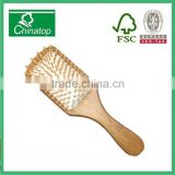 Rectangle natural bamboo massage comb with white rubber air cushion and slender handle, hair brush, hotel style, craft, WMC031