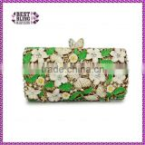 green white flowers butterfly metal clutch frame shell evening clutch hard shell (8834A-LGW)