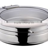 GW-260B-GL 6L Stainless Steel New Round Glass Induction Chafing Dish with Hydraulic Hinge