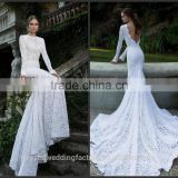 Cheap Elegant Backless Vintage 2016 Bride Dress Vestido De Noiva Mermaid Lace White Long Sleeves Wedding Dress CWFw2295