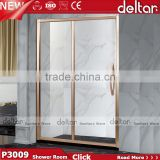 china bathroom design / shower enclosure cubicle / tempered glass shower door with Champagne gold Frame