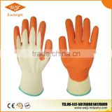 13G Nylon/Polyester Liner, Crinkle Finished orange Latex Coated industrial working Gloves