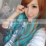Long Wavy Synthetic lace front hair wig Rainbow colorfull Heat Japanese fiber Glueless halloween cosplay wig