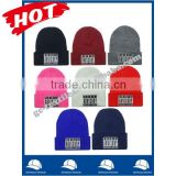 100% acrylic fashion colorful beanie hat and cap with flat embroidery logo on cuff wholesale factory alibaba china